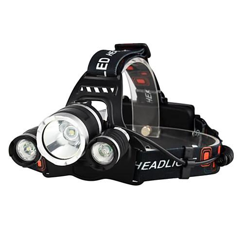 Налобные фонари Велосипедные фары Фары для велосипеда Светодиодная лампа Cree XM-L T6 3 излучатели 3000 lm 4.0 Режим освещения с батарейками и зарядными устройствами / Водонепроницаемый