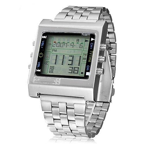 Муж. Наручные часы электронные часы Цифровой Нержавеющая сталь Серебристый металл Защита от влаги Календарь Секундомер Цифровой Классика На каждый день Мода - Серебряный Два года Срок службы батареи фото