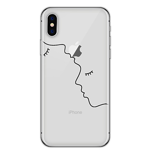 Case For Apple iPhone X / iPhone 8 Transparent / Pattern Back Cover Lines / Waves / Geometric Pattern / Cartoon Soft TPU for iPhone X / iPhone 8 Plus / iPhone 8