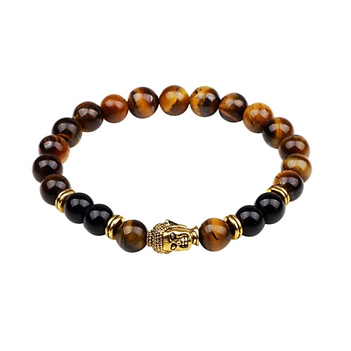 Men's Onyx Bead Bracelet Good Luck Bracelet Natural Stone Chakra Korean Fashion equilibrio Bracelet Jewelry Black / Brown / Green For Gift Daily