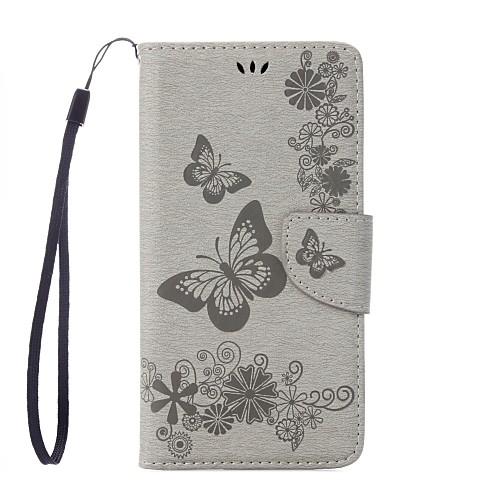 Кейс для Назначение Motorola G5 Plus G4 Plus Бумажник для карт Кошелек со стендом Флип Рельефный Чехол Бабочка Твердый Кожа PU для Мото