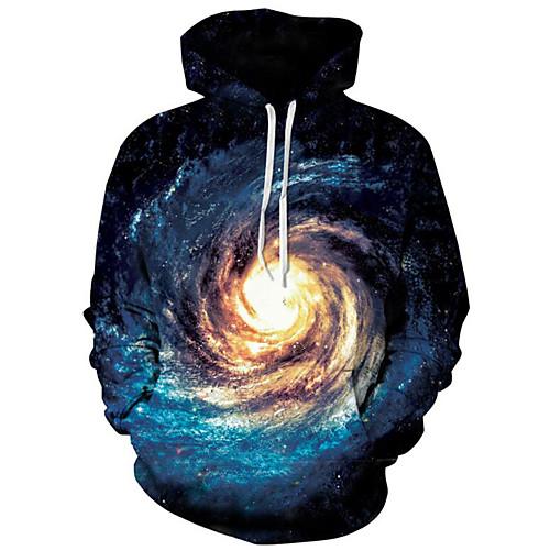 Men's Plus Size Long Sleeve Hoodie - Galaxy / 3D Hooded Blue XL / Spring / Winter
