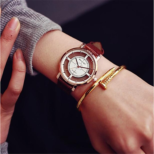 Women's Sport Watch Leather Black / White / Brown Chronograph Casual Watch Analog Ladies Casual Fashion - White Black Brown / Stainless Steel