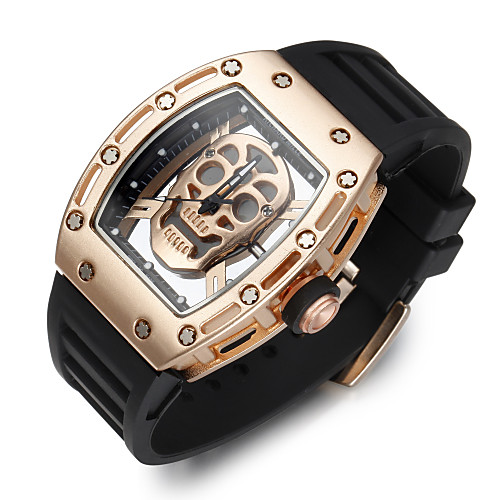 Men's Sport Watch Skeleton Watch Wrist Watch Quartz Silicone Black Creative Noctilucent Cool Analog Luxury Vintage Casual Skull Fashion - Silver Rose Black / Gold Two Years Battery Life
