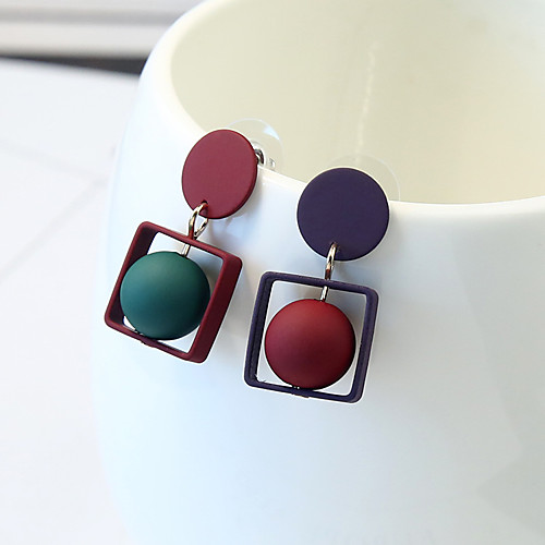 Women's Stud Earrings Mismatched Ladies Simple Fashion Earrings Jewelry Red For Daily