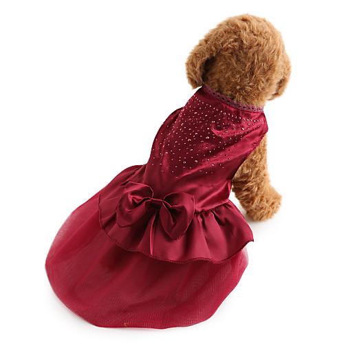 Собака Платья Одежда для собак Однотонный Пайетки Красный Синий Терилен Костюм Для домашних животных Жен. Праздник Мода Свадьба комбинезон дождевик для собак dezzie мальтийская болонка цвет синий