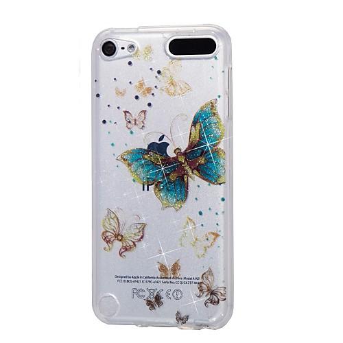 случай для яблока ipod touch5 / 6 чехол для случая с высоким проникающим порошком imd gold butterfly soft tpu phone case стоимость