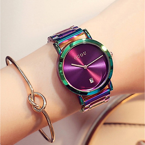 Women's Wrist Watch Japanese Quartz Stainless Steel Green / Purple Water Resistant / Waterproof Calendar / date / day Chronograph Analog Ladies Luxury Fashion Elegant Colorful - Black Gray Purple Two