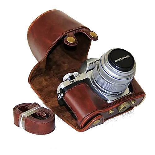 Купить со скидкой dengpin пу кожаный чехол для камеры сумка чехол с плечевым ремнем для Olympus E-M10 Mark II EM10 Mar