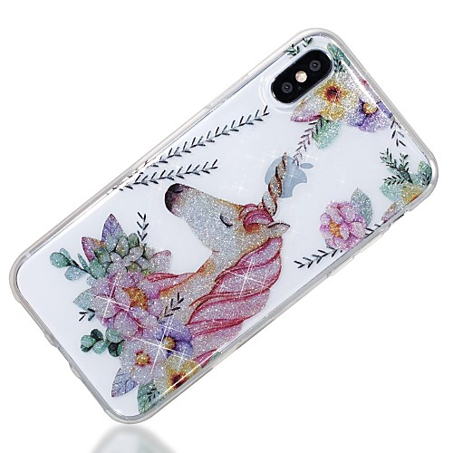 Case For Apple iPhone X / iPhone 8 IMD / Pattern Back Cover Unicorn / Glitter Shine Soft TPU for iPhone X / iPhone 8 Plus / iPhone 8