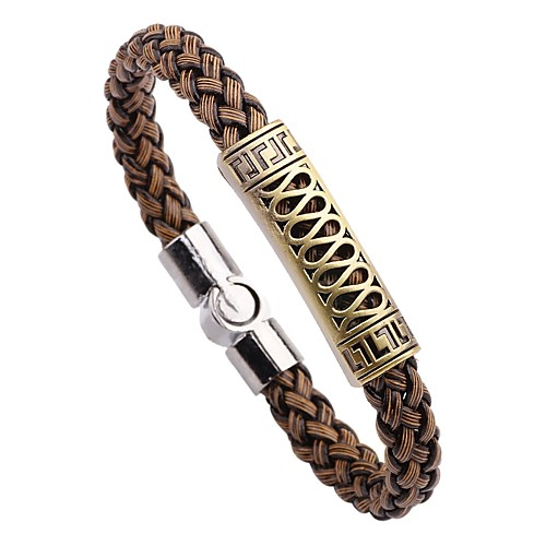 Men's Bracelet Bangles Leather Bracelet Magnetic Bracelet Leather Vintage Punk Fashion Bracelet Jewelry Brown For Daily School