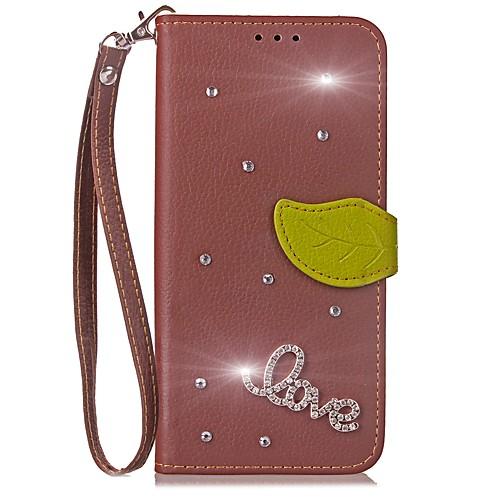 Кейс для Назначение LG G2 LG G3 LG LG G5 LG G4 G6 Бумажник для карт Кошелек Стразы со стендом Флип Чехол Сплошной цвет Твердый Кожа PU для чехол для для мобильных телефонов mega lg g3 for lg g3