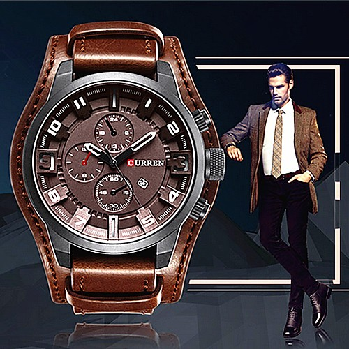 CURREN Men's Wrist Watch Quartz Leather Black / Orange / Brown Casual Watch Cool Large Dial Analog Casual Fashion Elegant - Brown Black / Yellow White / Red / Maxell SR626SW