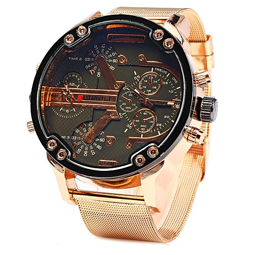 JUBAOLI Men's Wrist Watch Quartz Oversized Stainless Steel Rose Gold Cool Large Dial Analog LightBlue Yellow Green