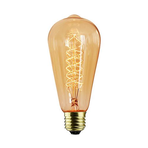 1шт 60 W E26 / E26 / E27 / E27 ST64 Лампа накаливания Vintage Эдисон лампочка 220-240 V