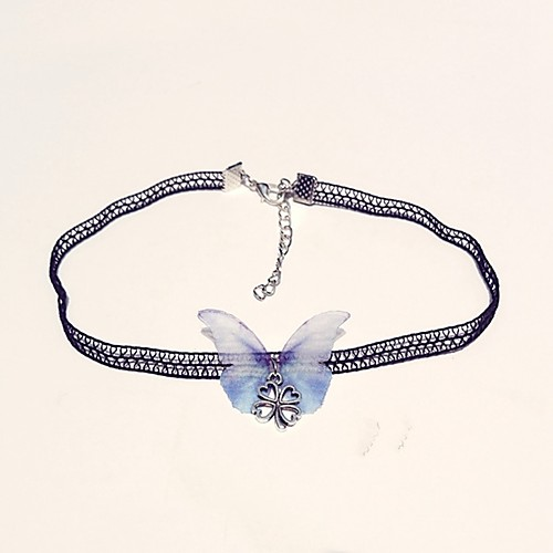 Women's Choker Necklace Butterfly Ladies Classic Fashion Lace Alloy Light Blue Necklace Jewelry One-piece Suit For Daily