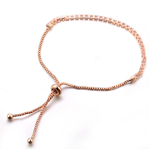 Women's Crystal Chain Bracelet Tennis Bracelet Dainty Ladies Classic Sweet Fashion Alloy Bracelet Jewelry Red / Rose Gold For Party Gift Evening Party Prom Promise