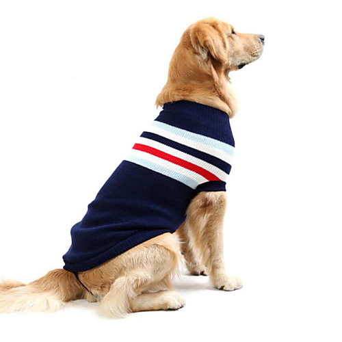 Dog Sweater Winter Dog Clothes Red Dark Blue Costume Large Dog Cotton Striped Casual / Daily S M L XL XXL XXXL
