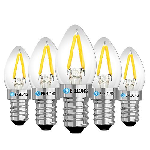 Brelong 5 шт e14 2w с регулируемой яркостью светодиодная лампа накаливания ac110v / ac 220v теплый белый фото