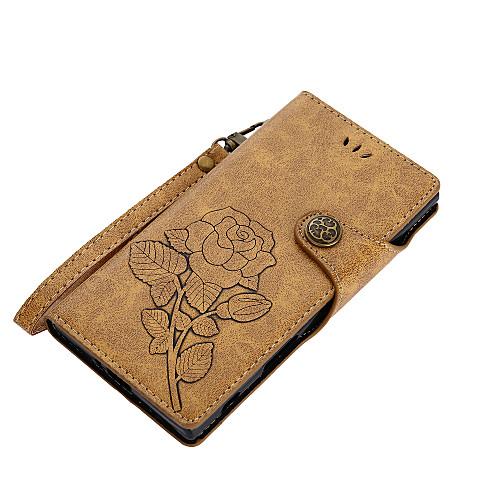 Кейс для Назначение Sony Z5 Sony Xperia XZ1 Xperia XA1 Бумажник для карт Кошелек со стендом Флип Магнитный С узором Чехол Цветы Твердый