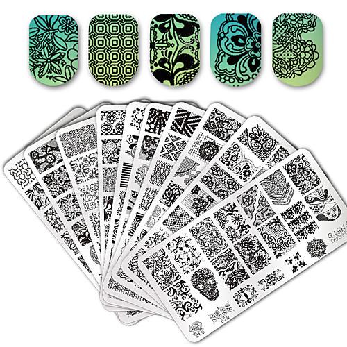 10/20 pcs Инструмент для штамповки ногтей шаблон Стиль / С кружевами Дизайн ногтей Модный дизайн Вечерние / Повседневные / Металл