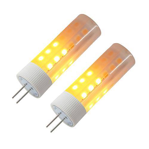 BRELONG 2pcs 3W 230lm G4 LED лампы типа Корн 36 Светодиодные бусины SMD 2835 Эффект пламени Тёплый белый 12V