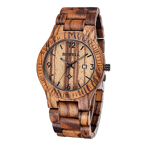 Men's Wrist Watch Unique Creative Watch Wood Watch Japanese Quartz Wood Brown 30 m Water Resistant / Waterproof Calendar / date / day Analog Luxury Classic - Brown Two Years Battery Life