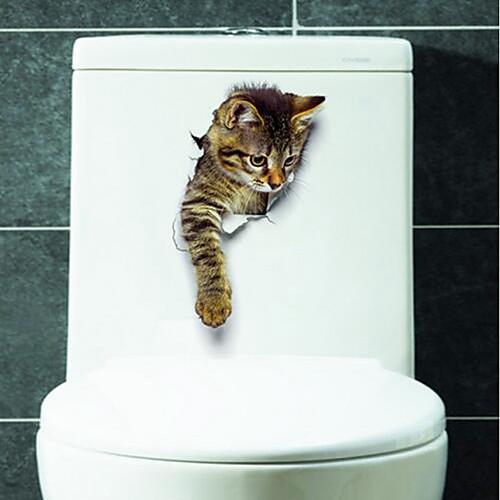 Животные Наклейки 3D наклейки Наклейки для туалета, Винил Украшение дома Наклейка на стену Унитаз унитаз дачный для уличного туалета в спб