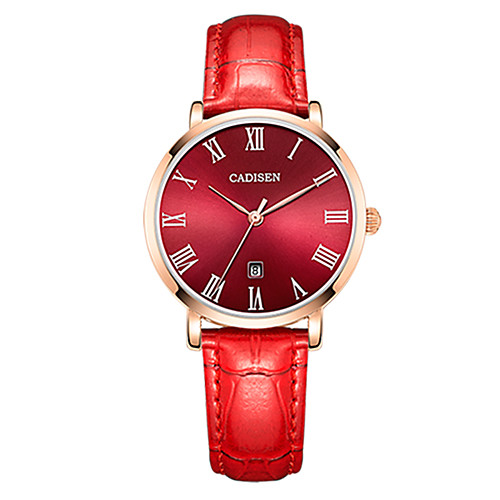 CADISEN Women's Wrist Watch Japanese Quartz Leather Black / White / Red 30 m Water Resistant / Waterproof Calendar / date / day Casual Watch Analog Ladies Casual Fashion Elegant - White Black Red Two