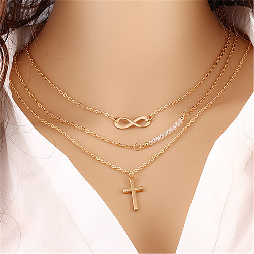 Women's Layered Necklace Layered Cross Infinity Bohemian Multi Layer Acrylic Alloy Gold Necklace Jewelry One-piece Suit For Street Holiday