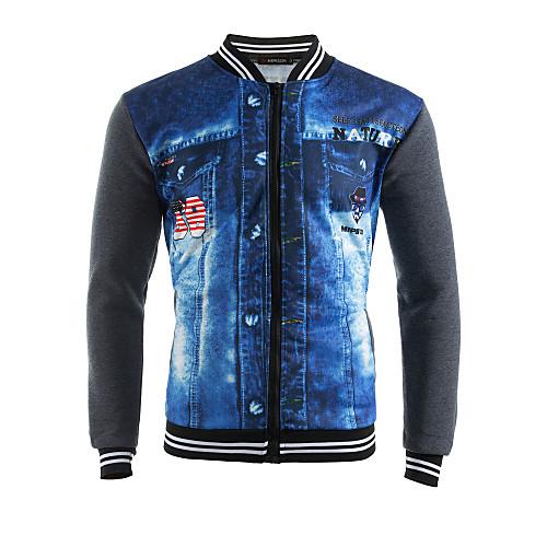 Men's Sports Street chic Long Sleeve Sweatshirt - Color Block / 3D Print Patchwork Dark Gray / Spring / Fall / Winter