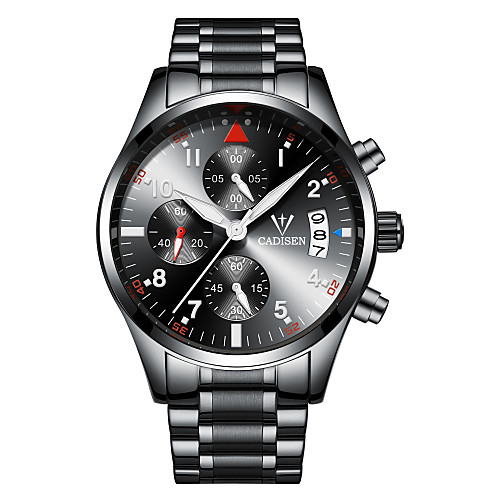 CADISEN Men's Sport Watch Wrist Watch Quartz Stainless Steel Black / Silver 30 m Water Resistant / Waterproof Calendar / date / day Chronograph Analog Casual Fashion - Black Black / Silver Two Years