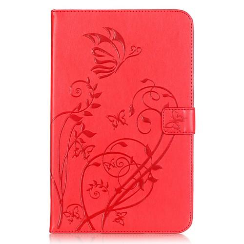Кейс для Назначение Samsung Tab E 9.6 Бумажник для карт Кошелек со стендом Рельефный Авто Режим сна / Пробуждение Чехол Цветы Твердый держатели в авто lola держатель для телефона в авто