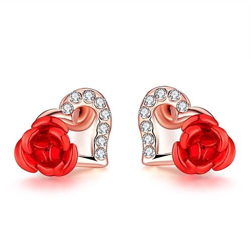 Жен. Кристалл Серьги-гвоздики - Сердце Цветы Дамы Мода Бижутерия Розовое золото Назначение Свадьба Повседневные