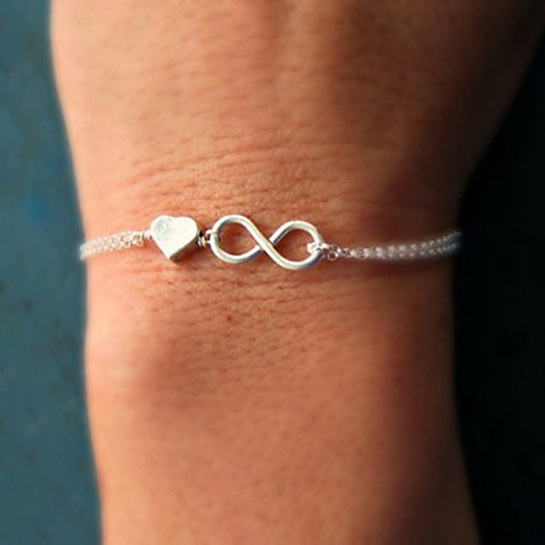 Women's Twisted Chain Bracelet Charm Bracelet Heart Love Infinity Dainty Ladies Unique Design Basic Fashion Bracelet Jewelry Gold / Silver For Party Gift Daily Casual