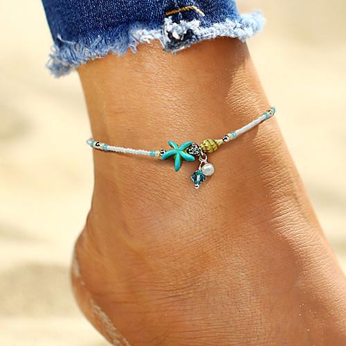 Богемные Искусственный жемчуг Искусственный жемчуг Ножной браслет - Жен. Белый Богемные / Мода морская звезда / Морская раковина Ножной