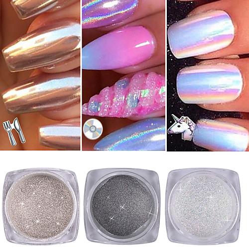 3 pcs порошок / Порошок блеска / Гель для ногтей Блеск и сияние Дизайн ногтей / Советы для ногтей