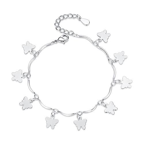 Women's Charm Bracelet Butterfly Ladies Sweet Fashion Bracelet Jewelry Silver For Gift Daily