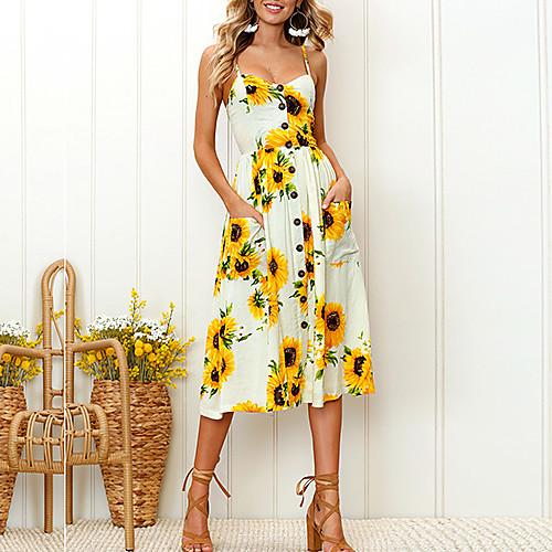женский loralf daily a line платье - подсолнух тропический лист белый, ремешок с принтом лето розовый бежевый темно-синий l xl xxl