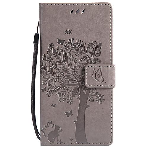 Кейс для Назначение Sony Xperia XZ1 Compact Xperia L2 Бумажник для карт Кошелек со стендом Флип С узором Чехол Кот дерево Твердый Кожа PU чехол книжка muvit folio для sony xperia e5