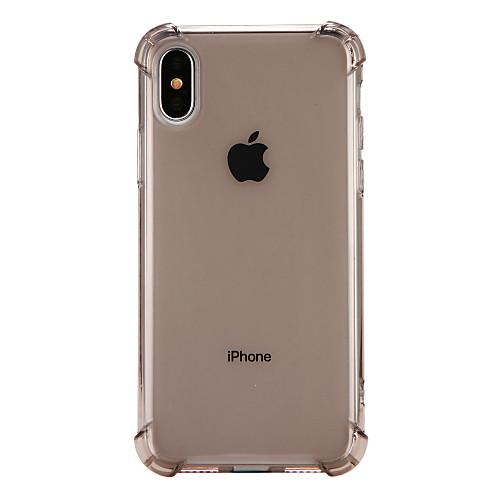 Кейс для Назначение Apple iPhone X iPhone 8 Защита от удара Прозрачный Кейс на заднюю панель Сплошной цвет Мягкий ТПУ для iPhone X iPhone