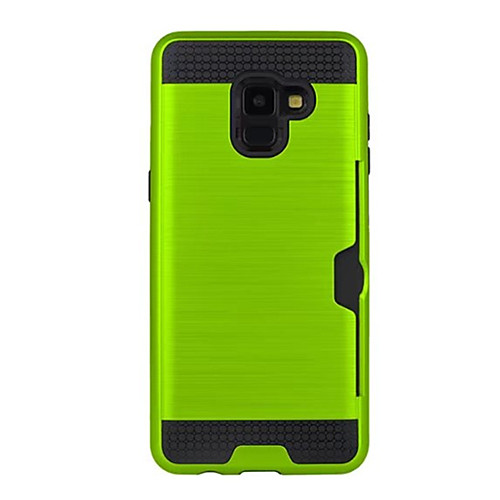 Case For Samsung Galaxy A8 2018 Card Holder Back Cover Solid Colored Hard Silicone for A8 2018
