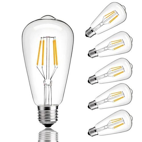 Купить со скидкой 6шт 4 W 360 lm E26 / E27 LED лампы накаливания ST64 4 Светодиодные бусины COB Декоративная Тёплый бе