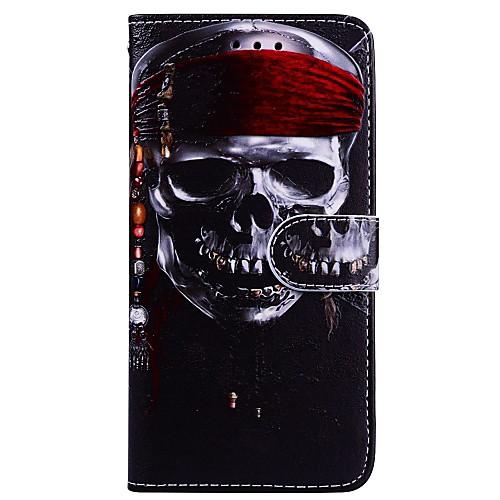 Кейс для Назначение Apple iPhone X iPhone 6 Бумажник для карт Флип С узором Чехол Черепа Твердый Кожа PU для iPhone X iPhone 8 Pluss