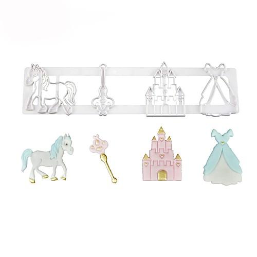 сказочный мотив резак печенья принцесса платье ключ лошадь замок помадка плесень торт