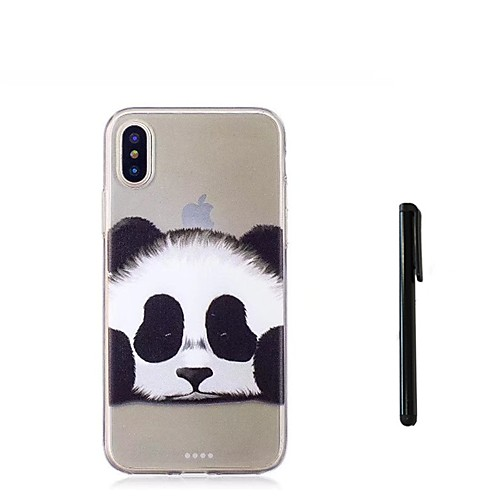 Кейс для Назначение Apple iPhone X iPhone 8 Plus Полупрозрачный Кейс на заднюю панель Панда Животное Мягкий ТПУ для iPhone X iPhone 8 детская футболка классическая унисекс printio король панда