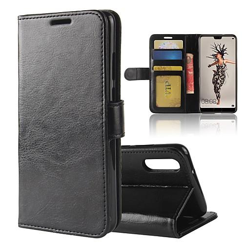 Кейс для Назначение Huawei P20 lite P20 Бумажник для карт Кошелек со стендом Флип Магнитный Чехол Однотонный Твердый Кожа PU для Huawei