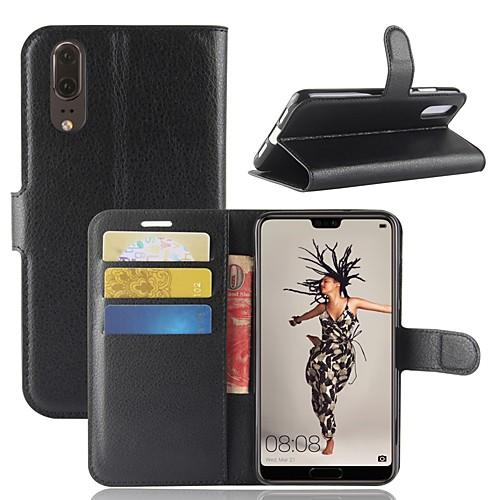 Купить со скидкой Кейс для Назначение Huawei P20 / P20 lite Кошелек / Бумажник для карт / Флип Чехол Однотонный Тверды