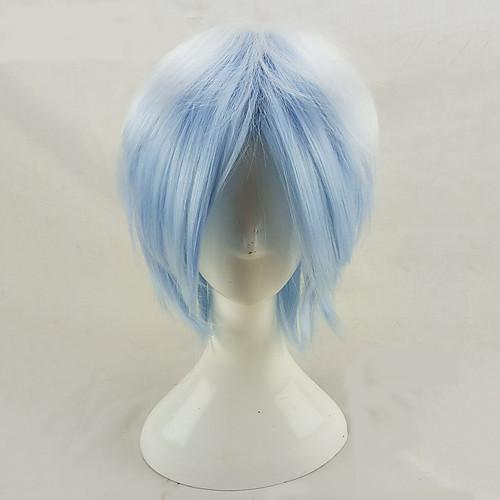 Парики из искусственных волос Кудрявый Minaj Стиль Стрижка каскад Без шапочки-основы Парик Синий Светло-синий Искусственные волосы Муж. Волосы с окрашиванием омбре Синий Парик Короткие hairjoy
