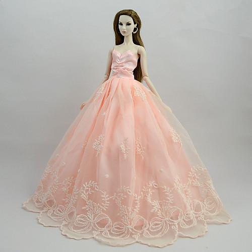 Купить со скидкой Платья Платья Для Barbiedoll Розовый Сатин / тюль / Полиэстер / Хлопок Платье Для Девичий игрушки ку